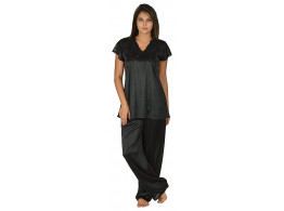 Archiecs Creation Women's Satin Black Top and Pyjama Night Suit-Nightdress (Free Size)