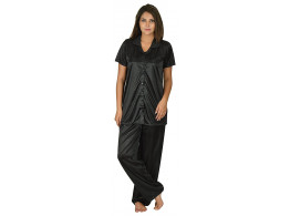 Archiecs Creation Women's Satin Black Top and Pyjama Night Suit-Nightdress With Collar (Free Size)