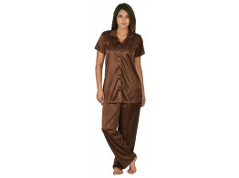 Archiecs Creation Women's Satin Brown Top and Pyjama Night Suit-Nightdress With Collar (Free Size)