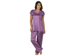 Archiecs Creation Women's Satin Dark Pink Top and Pyjama Night Suit-Nightdress (Free Size)