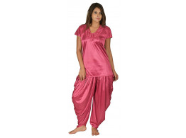 Archiecs Creation Women's Satin Magenta Nightdress With Patiyala