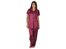 Archiecs Creation Women's Satin Magenta Top and Pyjama Night Suit-Nightdress With Collar (Free Size)