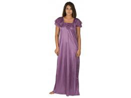 Archiecs Creation Women's Satin Pitch Long Nightwear-NightDress-Gowns (Free Size)