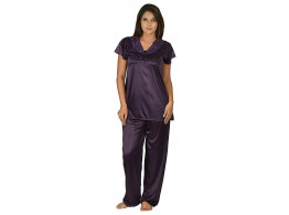 Archiecs Creation Women's Satin Purple Top and Pyjama Night Suit-Nightdress (Free Size)