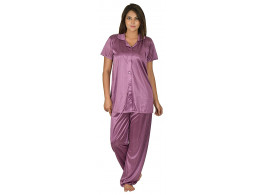 Archiecs Creation Women's Satin Shin Dark Pink Top and Pyjama Night Suit-Nightdress With Collar (Free Size)