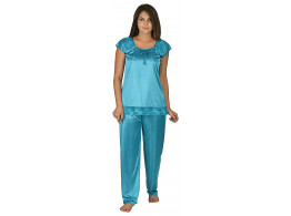 Archiecs Creation Women's Satin Sky Blue Top and Pyjama Night Suit-Nightdress (Free Size)
