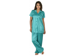 Archiecs Creation Women's Satin Turquoise Top and Pyjama Night Suit-Nightdress With Collar (Free Size)