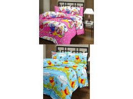 Vasnm Barbie Princess & Winnie The Pooh AC Reversible Quilt (Pack Of 2)