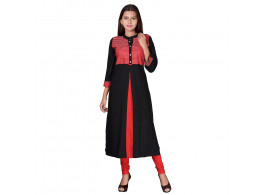 Pneha Casual Solid Women's Kurti  (Black, Red)
