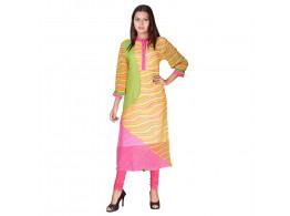 Bhoomi Orange - Pink Georgette lehriya Print Kurti