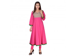 Bhoomi Pink Simple Embroidered Women's Kurti
