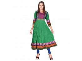 Pneha AnarKali Women's Kurti (Green color)