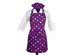 Switchon Purple polka waterproof kitchen Apron with Cap & front pocket …