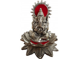 Divinecrafts White Metal Sitting Lord Ganesha Showpiece - 12 cm  (Silver Finish, Silver)