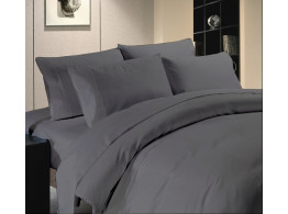 Egyptian Cotton Beddings Solid Bed Sheet With Pillow Covers - Dark Gray