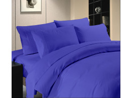 Egyptian Cotton Beddings Solid Bed Sheet With Pillow Covers - Blue Solid