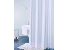 Freelance Multi Hilton PVC Shower Curtain With 12 Hooks, Waterproof, White