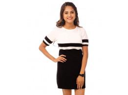 Brilliant White-Jet Black Miami Trim Half Sleeve T Shirt Dress