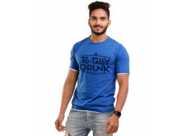 Totally Drunk Royal Blue Melange Graphic Half Sleeve T Shirt