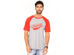 Originals Deep Orange Melange-Brilliant White VAYU Collection Half Sleeve T Shirt