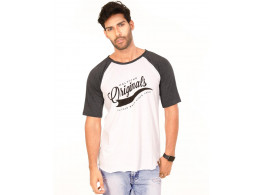 Originals Charcoal Melange-Brilliant White VAYU Collection Half Sleeve T Shirt
