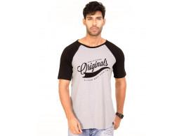 Originals Jet Black-Light Grey Melange VAYU Collection Half Sleeve T Shirt