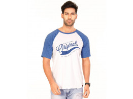 Originals Royal Blue Melange-Brilliant White VAYU Collection Half Sleeve T Shirt