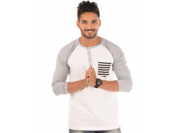Light Grey Melange-Brilliant White Henley Printed Pocket Full Sleeve T Shirt