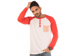 Deep Orange Melange-Brilliant White Henley Printed Pocket Full Sleeve T Shirt