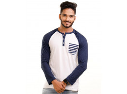 Navy Blue Melange-Brilliant White Henley Printed Pocket Full Sleeve T Shirt