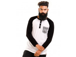 Jet Black-Brilliant White Henley Printed Pocket Full Sleeve T Shirt