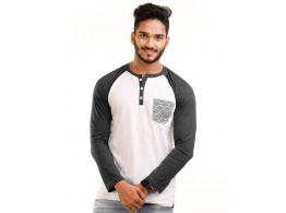 Charcoal Melange-Brilliant White Henley Printed Pocket Full Sleeve T Shirt