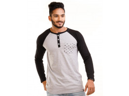 Jet Black-Light Grey Melange Henley Printed Pocket Full Sleeve T Shirt