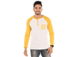 Golden Yellow Melange-Brilliant White Henley Printed Pocket Full Sleeve T Shirt