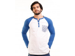 Royal Blue Melange-Brilliant White Henley Printed Pocket Full Sleeve T Shirt