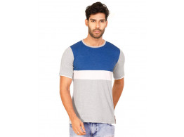 Royal Blue Melange-Brilliant White-Light Grey Melange Trendy Basics Half Sleeve T Shirt