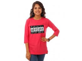 Parental Advisory Pink Melange Graphic 3/4th Sleeve T Shirt