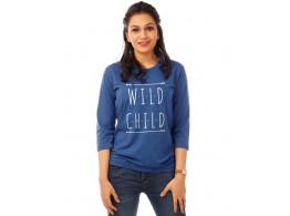 Wild Child Royal Blue Melange Graphic 3/4th Sleeve T Shirt