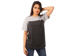 Light Grey Melange-Charcoal Melange Curvy Panel T Shirt Half Sleeve T Shirt