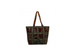 The Living Craft ZARI PATCHWORK BEADED-HANDLE WOMEN's HANDBAG Multicolor TLCBG0221