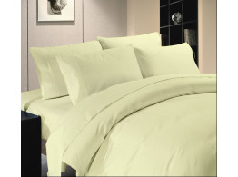 Egyptian Cotton Beddings Solid Bed Sheet With Pillow Covers - Ivory