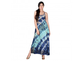 SPAGHETTI STRAP TIE n DYE MAXI DRESS WITH CELTIC PRINT