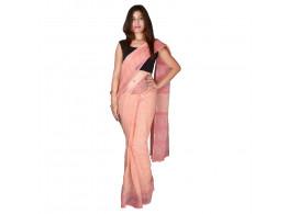 PANVI Printed Kota Doria Kota Cotton Saree  (Pink)