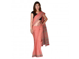 PANVI Printed Kota Doria Kota Cotton Saree  (Red, Black)