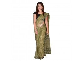 PANVI Printed Kota Doria Kota Cotton Saree  (Dark Green)
