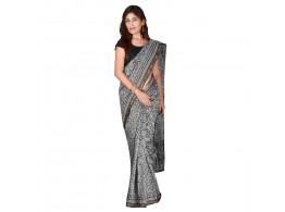 PANVI Printed Chanderi Silk Saree  (Grey)
