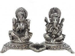 Divinecrafts White Metal Laxmi-Ganesha Statue With Small Diya Showpiece - 12.7 cm  (Aluminium, Silver)