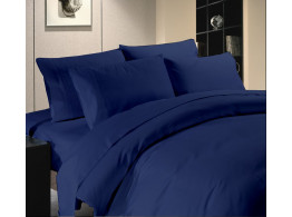 Egyptian Cotton Beddings Solid Bed Sheet With Pillow Covers - Nevy Blue