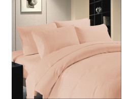 Egyptian Cotton Beddings Solid Bed Sheet With Pillow Covers - Peach