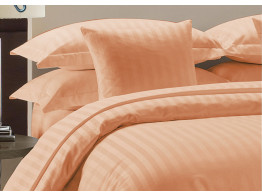 Egyptian Cotton Beddings Bed Sheet With Pillow Covers - Peach stripe